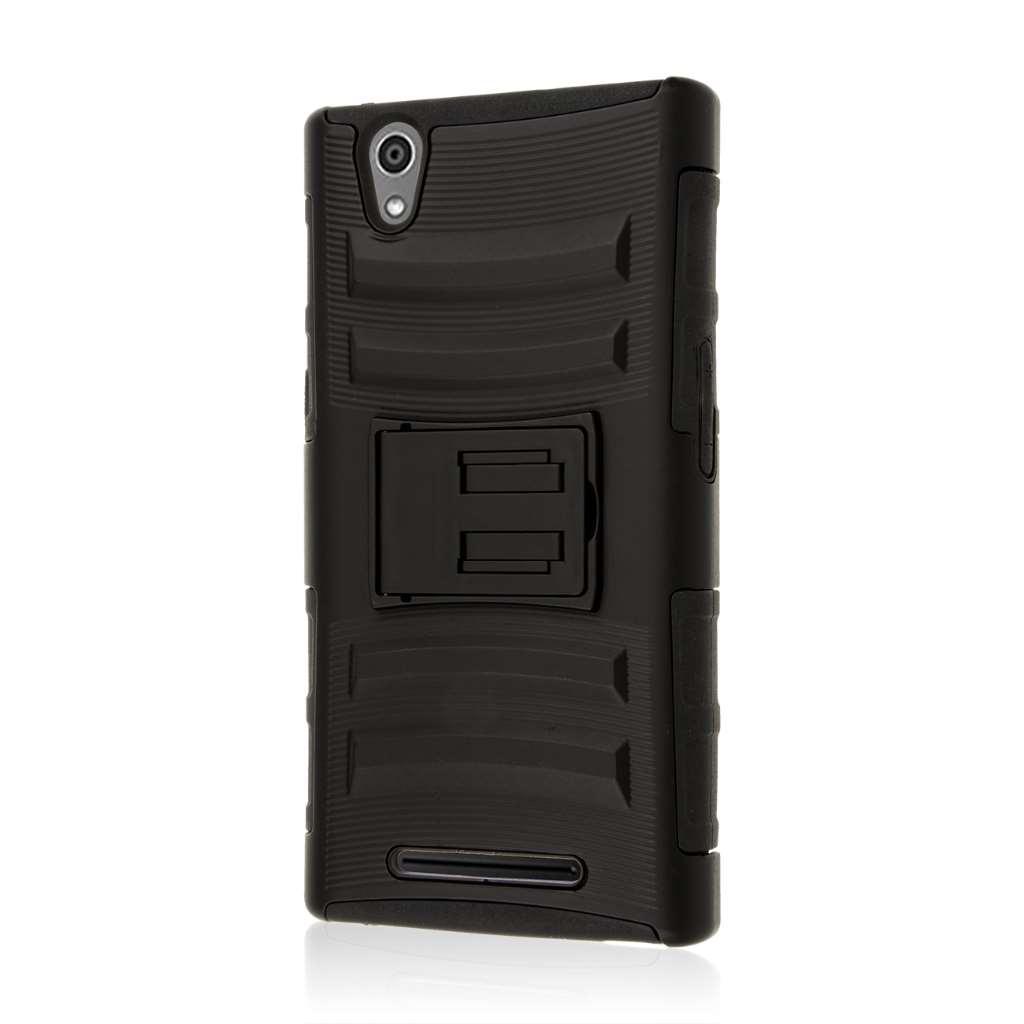 ZTE ZMAX - Black MPERO IMPACT XT - Kickstand Case Cover