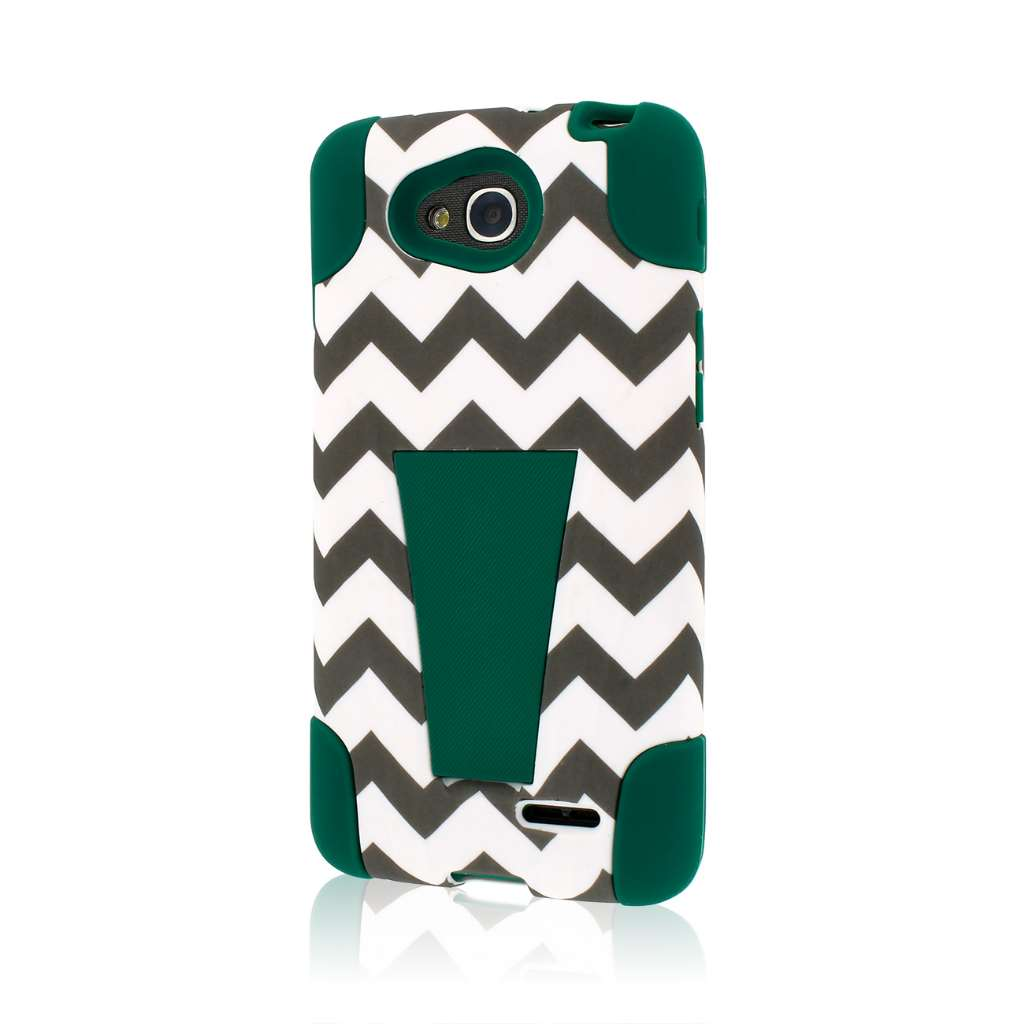 LG Optimus L90 - Teal Chevron MPERO IMPACT X - Kickstand Case Cover