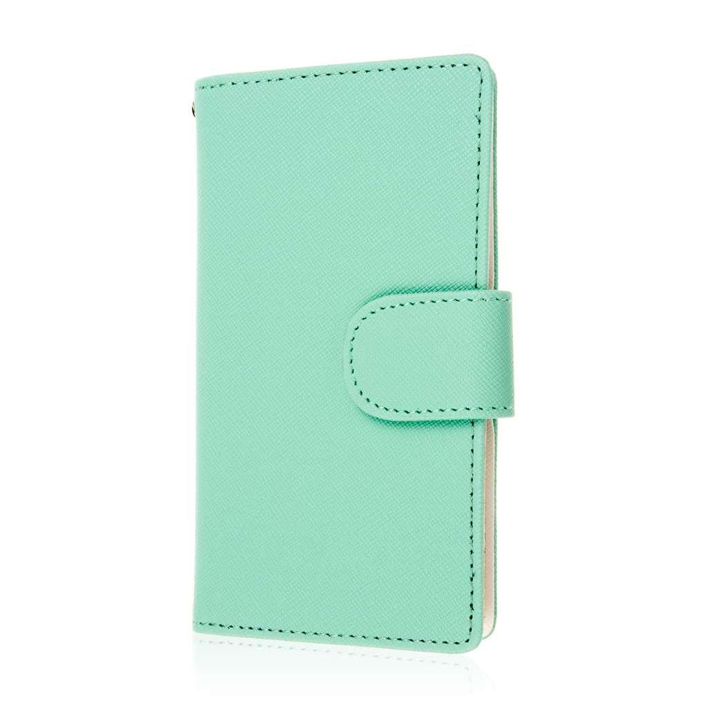 Sharp AQUOS Crystal - Mint MPERO FLEX FLIP Wallet Case Cover