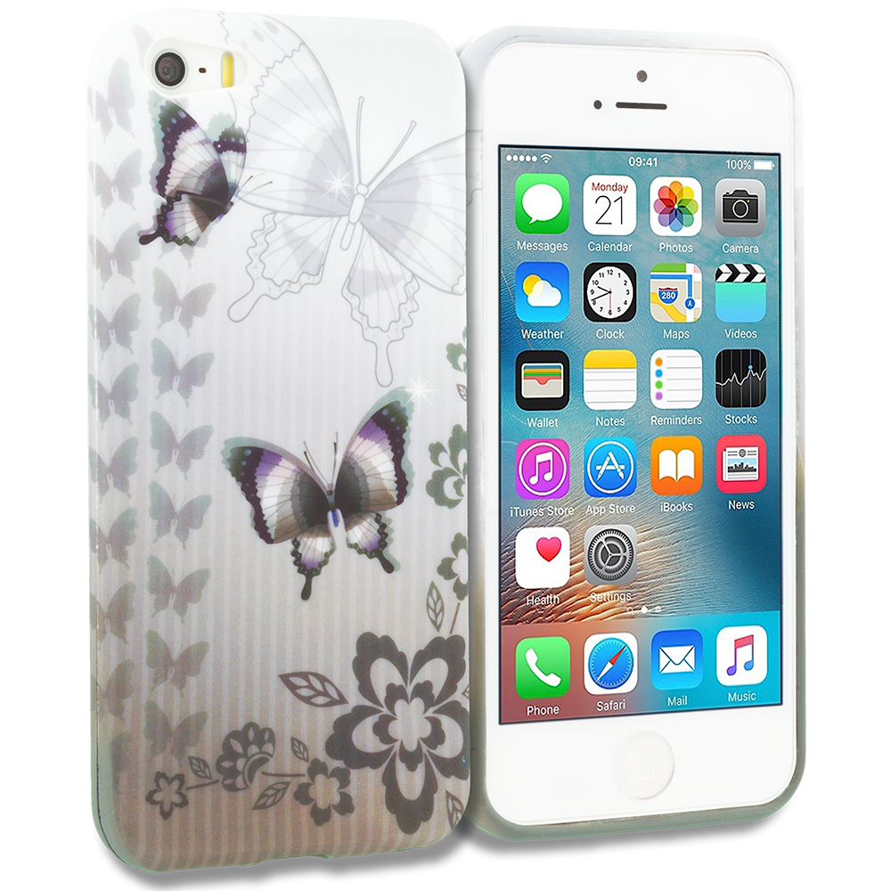 Apple iPhone 5/5S/SE Black Butterfly TPU Design Soft Rubber Case Cover