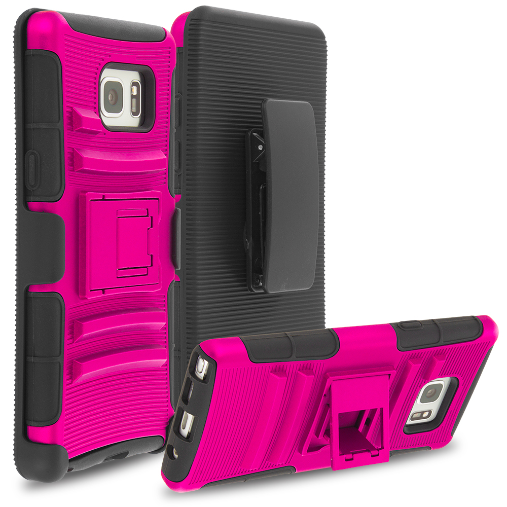 Samsung Galaxy Note 7 Hot Pink Hybrid Heavy Duty Rugged Case Cover with Belt Clip Holster