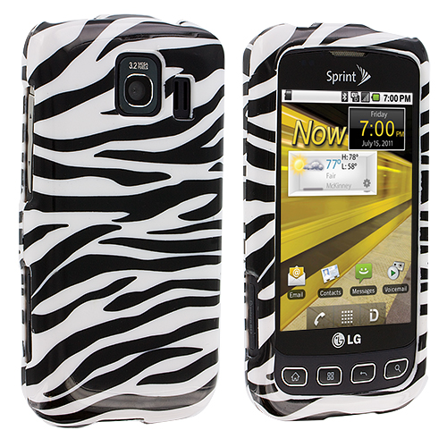 LG Optimus S LS670 / U / V Black / White Zebra Design Crystal Hard Case Cover