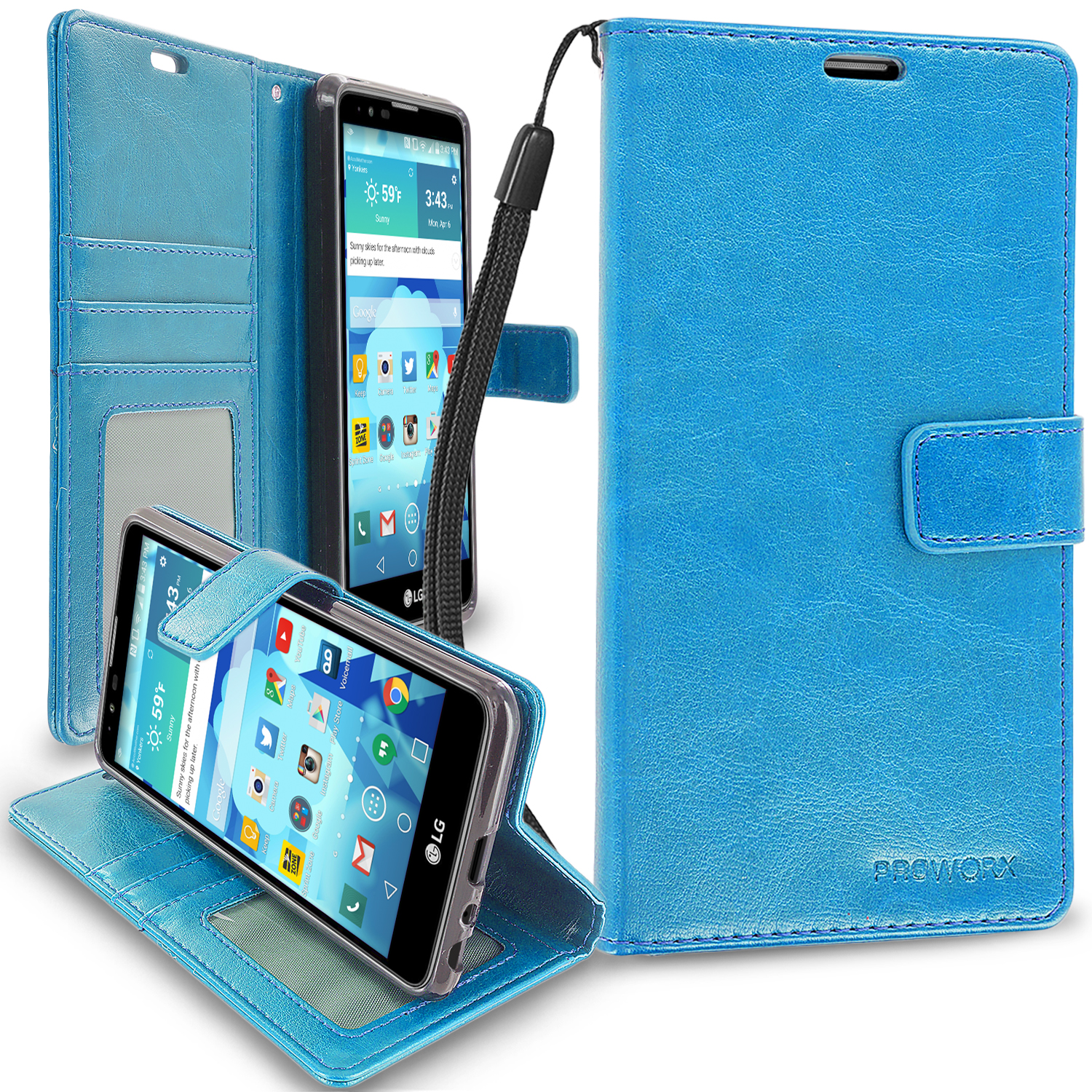 LG Stylo 2 LS775 Baby Blue ProWorx Wallet Case Luxury PU Leather Case Cover With Card Slots & Stand