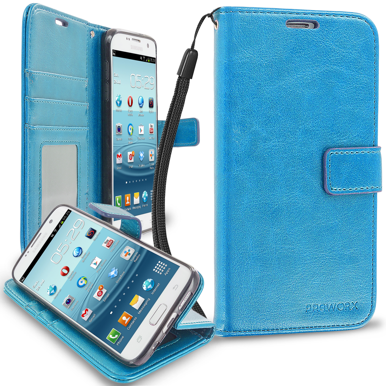 Samsung Galaxy S7 Edge Baby Blue ProWorx Wallet Case Luxury PU Leather Case Cover With Card Slots & Stand