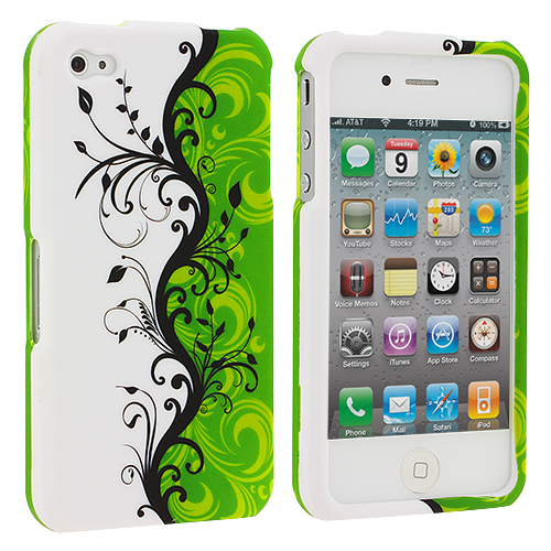 Apple iPhone 4 / 4S Green Swirl Hard Rubberized Design Case Cover