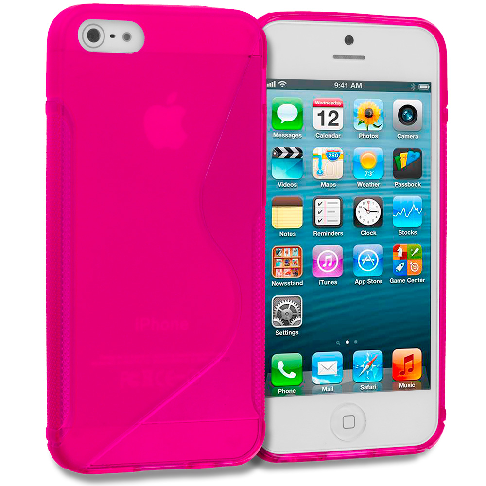 Apple iPhone 5/5S/SE 2 in 1 Combo Bundle Pack - Hot Pink Green S-Line TPU Rubber Skin Case Cover : Color Hot Pink S-Line