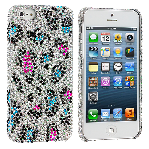 Apple iPhone 5/5S/SE 2 in 1 Combo Bundle Pack - Colorful Leopard Bling Rhinestone Case Cover : Color Colorful Leopard
