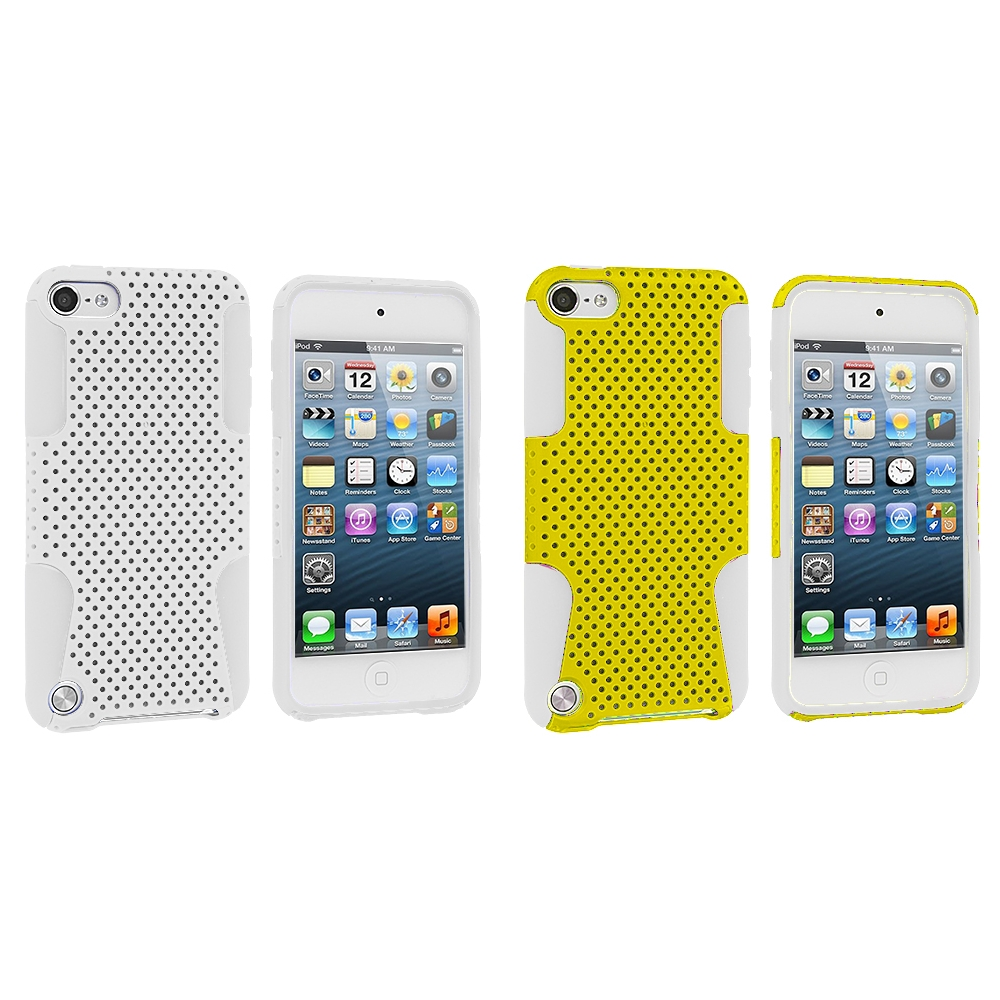 Apple iPod Touch 5th 6th Generation 2 in 1 Combo Bundle Pack - White / Yellow Hybrid Mesh Hard/Soft Case Cover