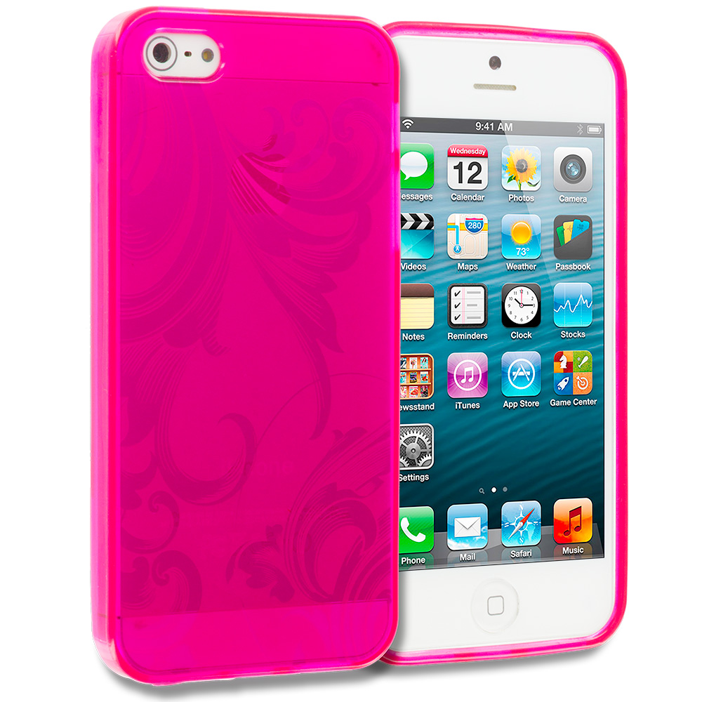 Apple iPhone 5/5S/SE Combo Pack : Hot Pink Floral TPU Rubber Skin Case Cover : Color Hot Pink Floral