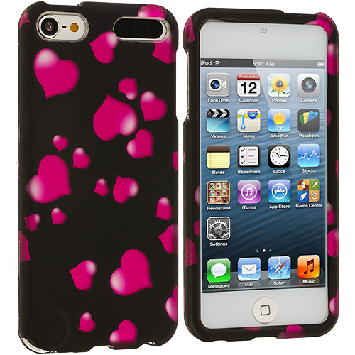 Apple iPod Touch 5th 6th Generation Raining Hearts Hard Rubberized Design Case Cover