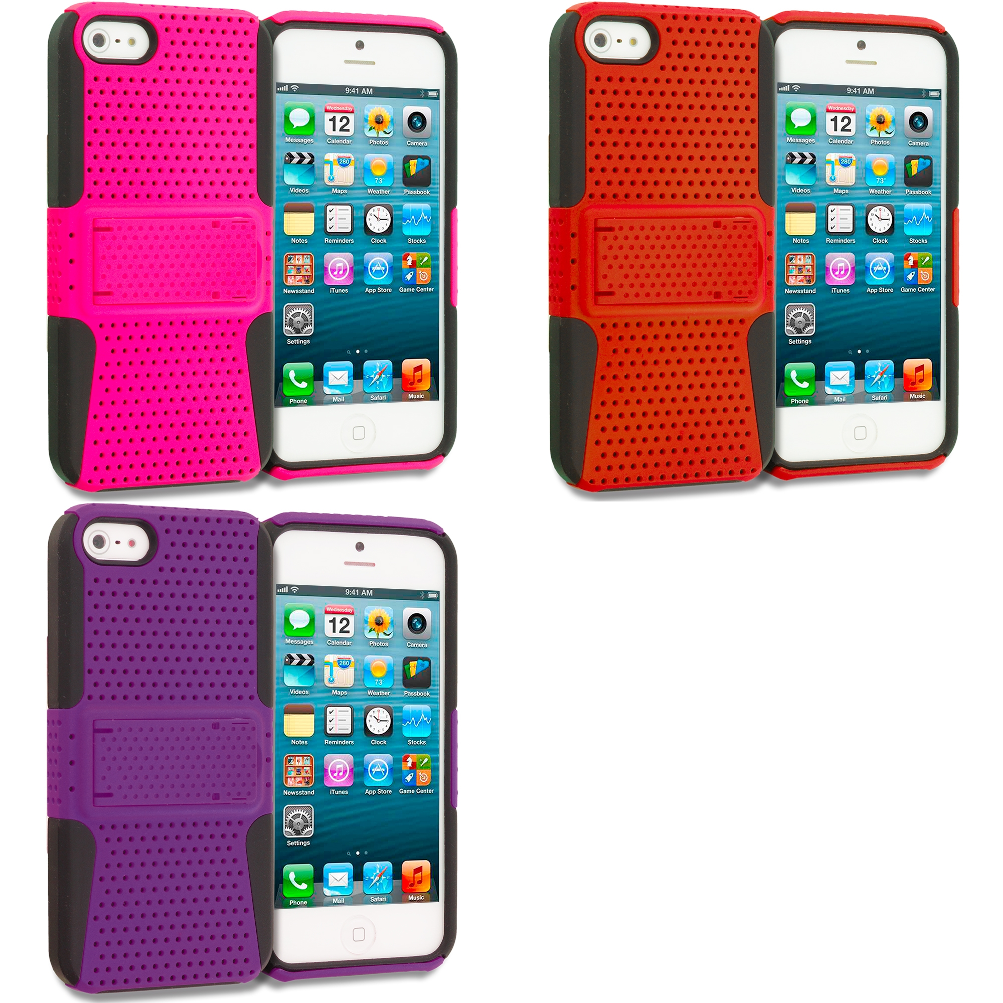 Apple iPhone 5/5S/SE Combo Pack : Black / Hot Pink Hybrid Mesh Hard/Soft Case Cover with Stand