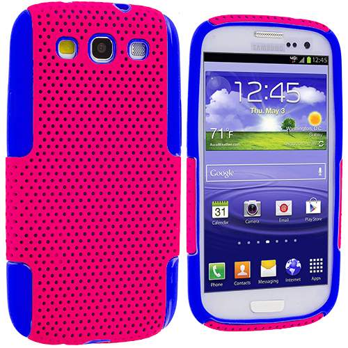 Samsung Galaxy S3 Blue / Hot Pink Hybrid Mesh Hard/Soft Case Cover