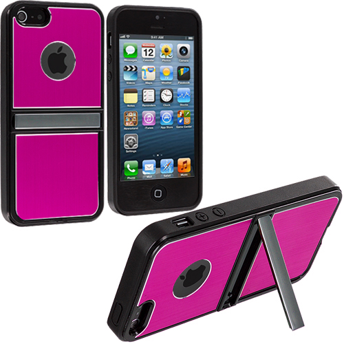 Apple iPhone 5/5S/SE Hot Pink w/ Stand Aluminum Metal Hard Case Cover