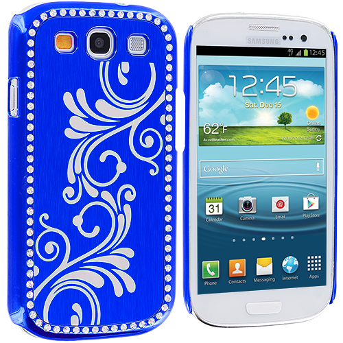 Samsung Galaxy S3 2 in 1 Combo Bundle Pack - Black Blue Diamond Luxury Flower Case Cover : Color Blue