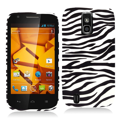 ZTE Force N9100 Black / White Zebra Hard Rubberized Design Case Cover