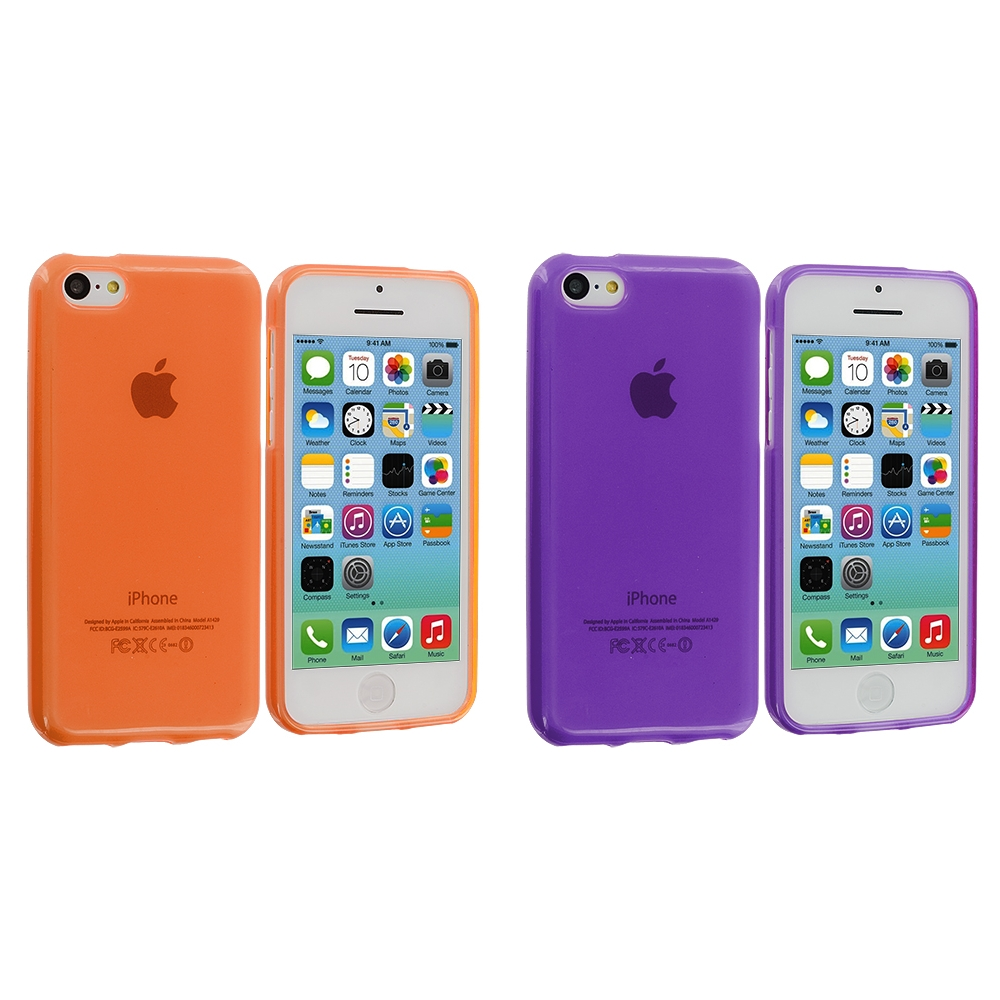 Apple iPhone 5C 2 in 1 Combo Bundle Pack - Orange Purple TPU Rubber Skin Case Cover