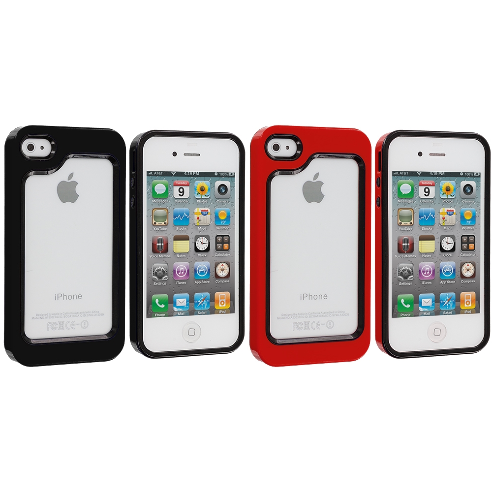 Apple iPhone 4 / 4S 2 in 1 Combo Bundle Pack - Black / Red Hybrid TPU Bumper Case Cover