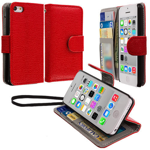 Apple iPhone 5C 2 in 1 Combo Bundle Pack - Black Red Leather Wallet Pouch Case Cover with Slots : Color Red
