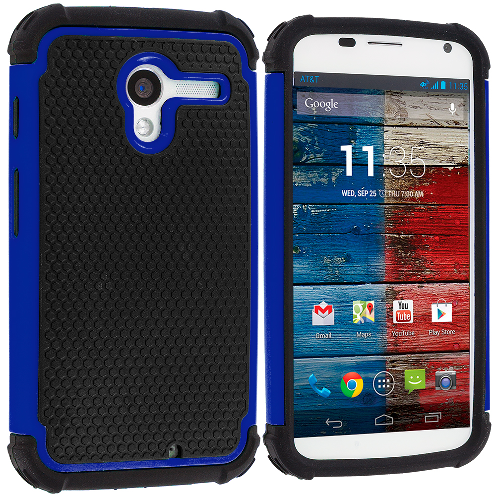Motorola Moto X 2 in 1 Combo Bundle Pack - Black / Blue Hybrid Rugged Hard/Soft Case Cover : Color Black / Blue