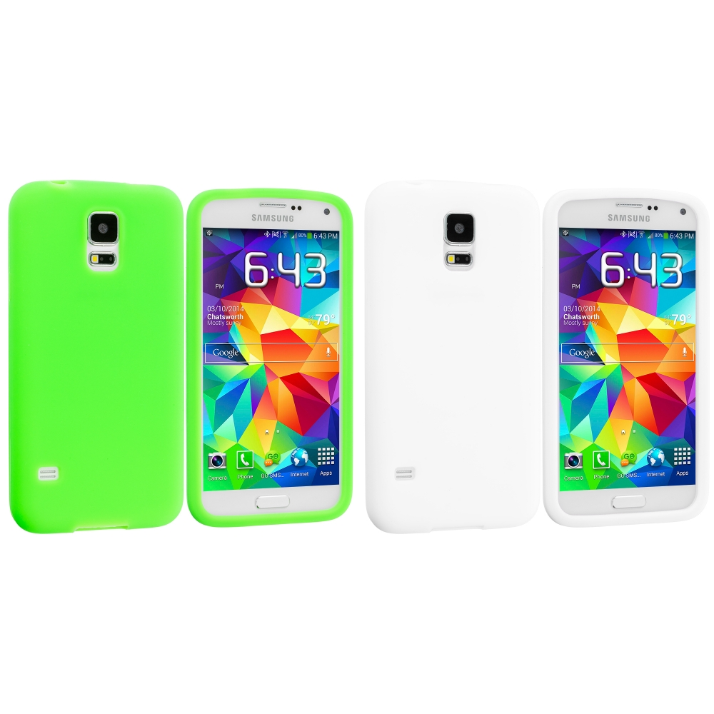 Samsung Galaxy S5 2 in 1 Combo Bundle Pack - White Green Silicone Soft Skin Case Cover
