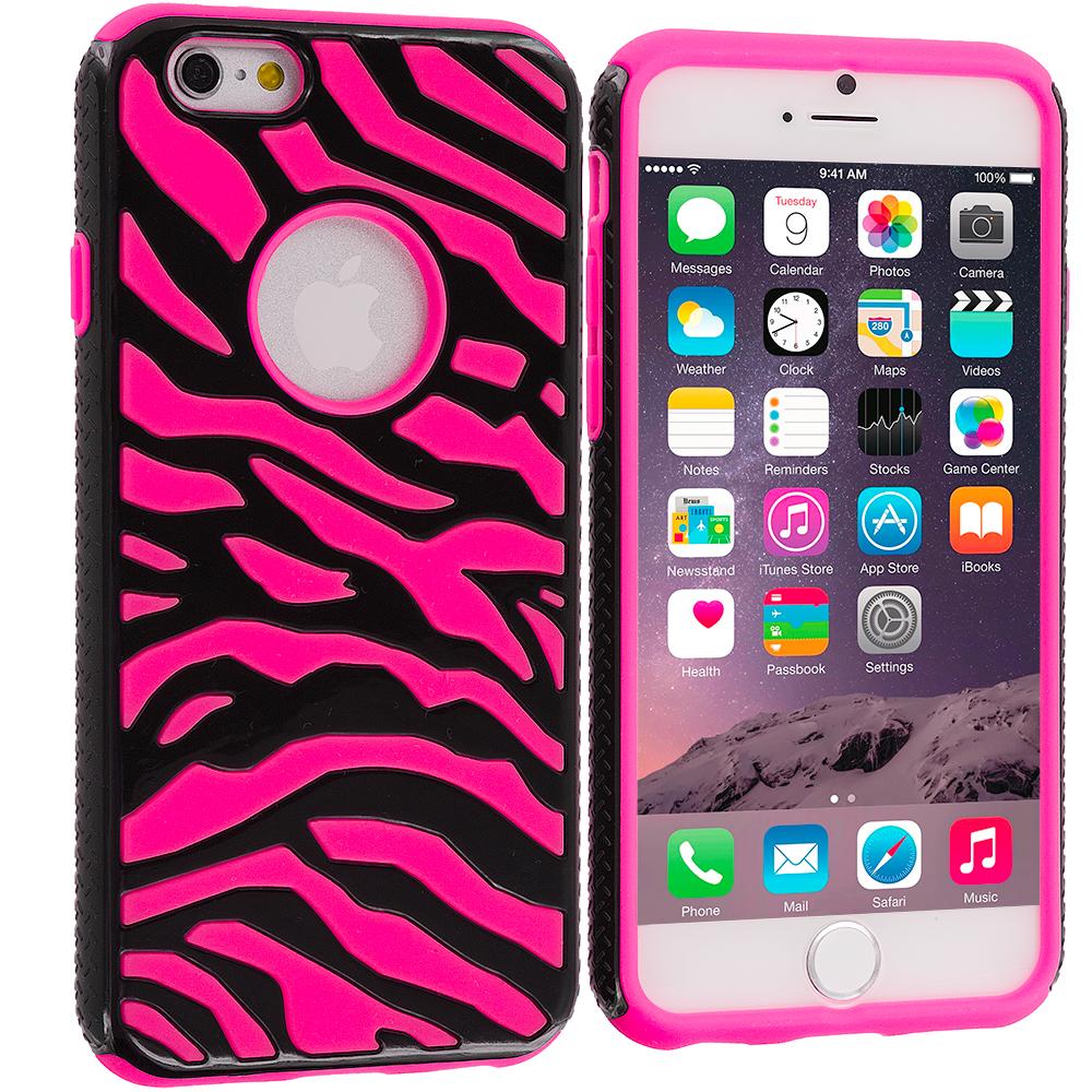 Apple iPhone 6 6S (4.7) 5 in 1 Combo Bundle Pack - Hybrid Zebra Hard/Soft Case Cover : Color Black / Hot Pink