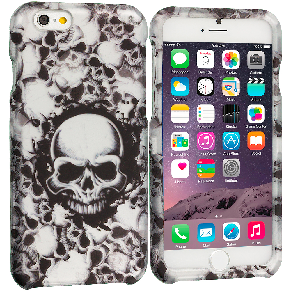 Apple iPhone 6 Plus 6S Plus (5.5) Black White Skulls 2D Hard Rubberized Design Case Cover