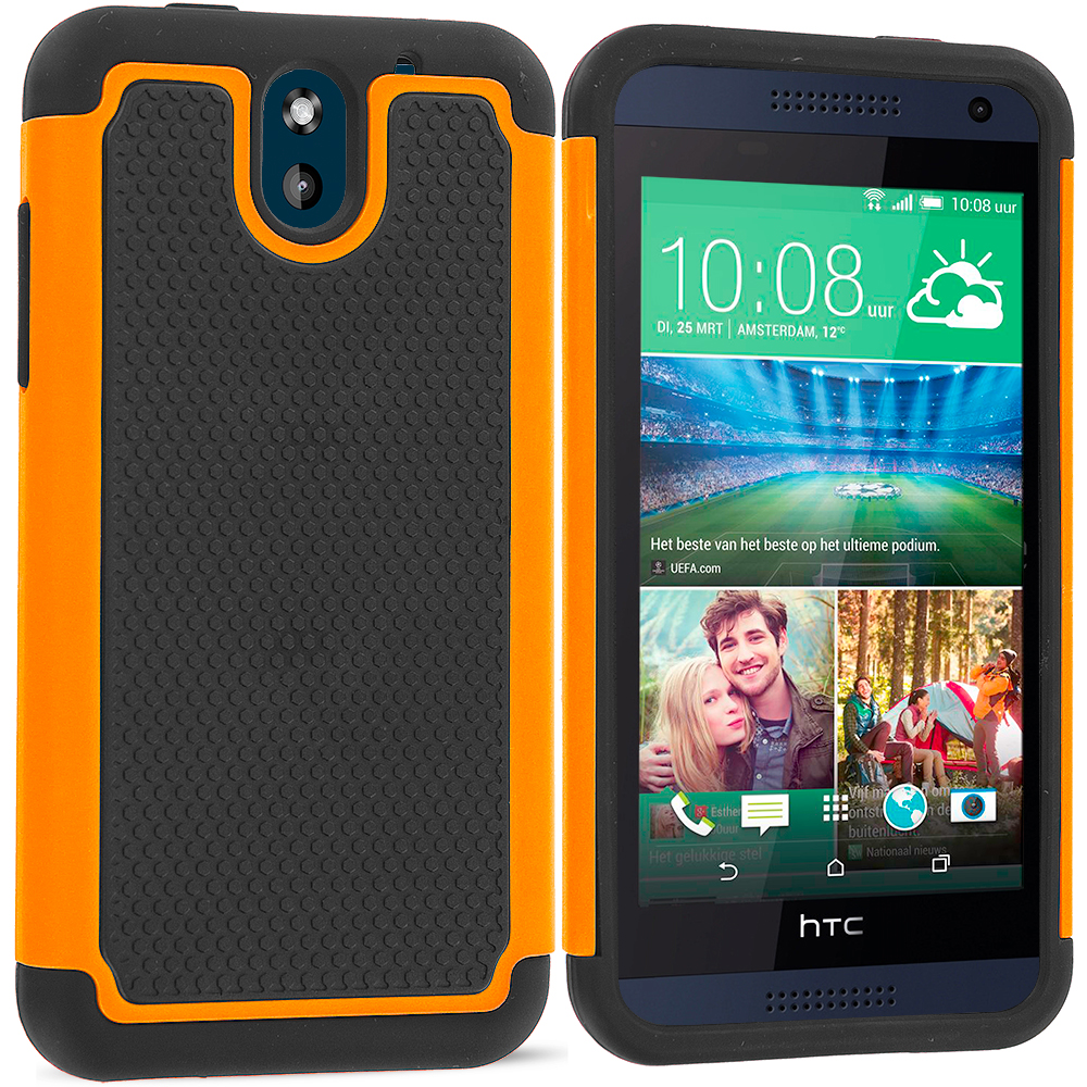 HTC Desire 610 Black / Orange Hybrid Rugged Grip Shockproof Case Cover