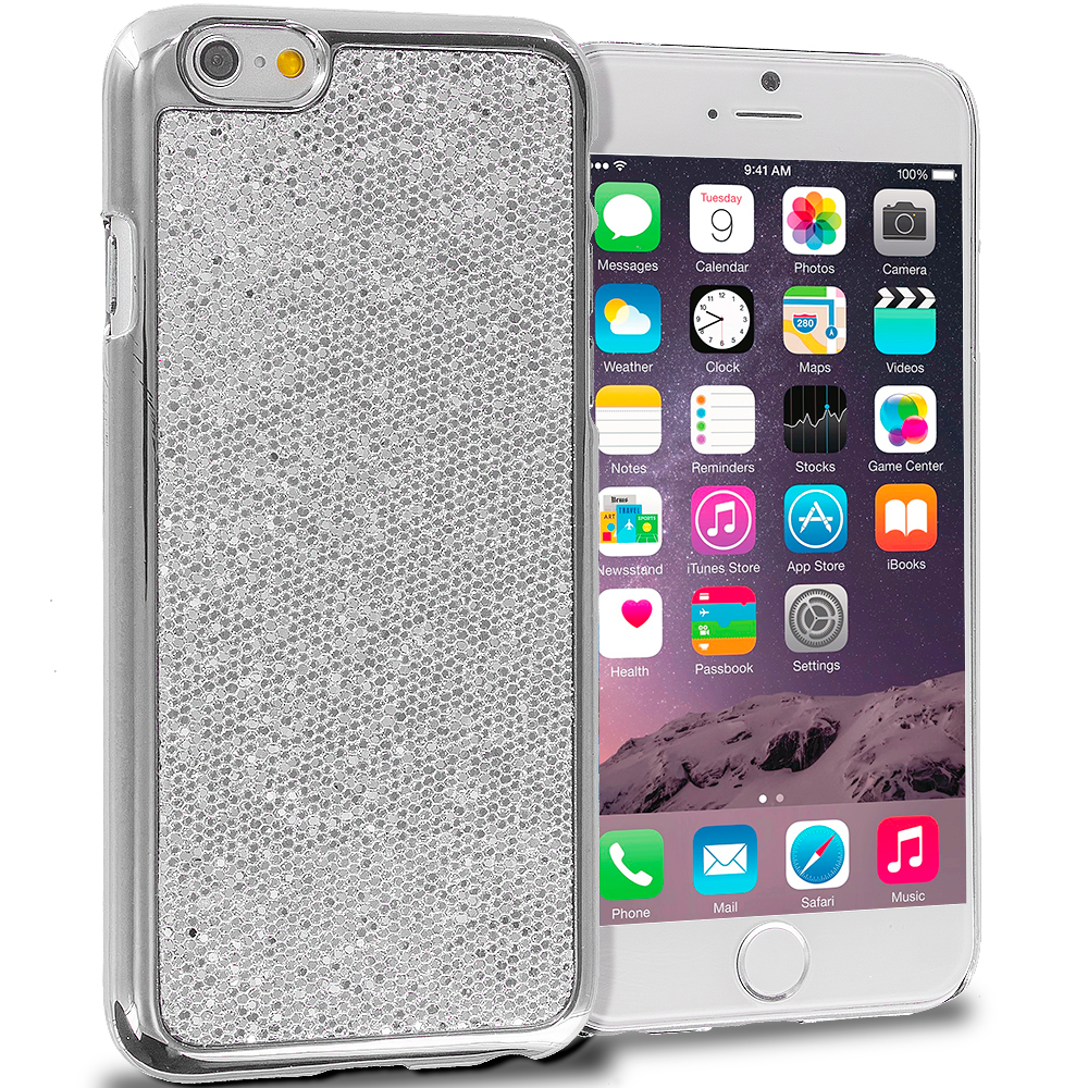 Apple iPhone 6 Plus 6S Plus (5.5) Silver Metal Glitter Case Cover