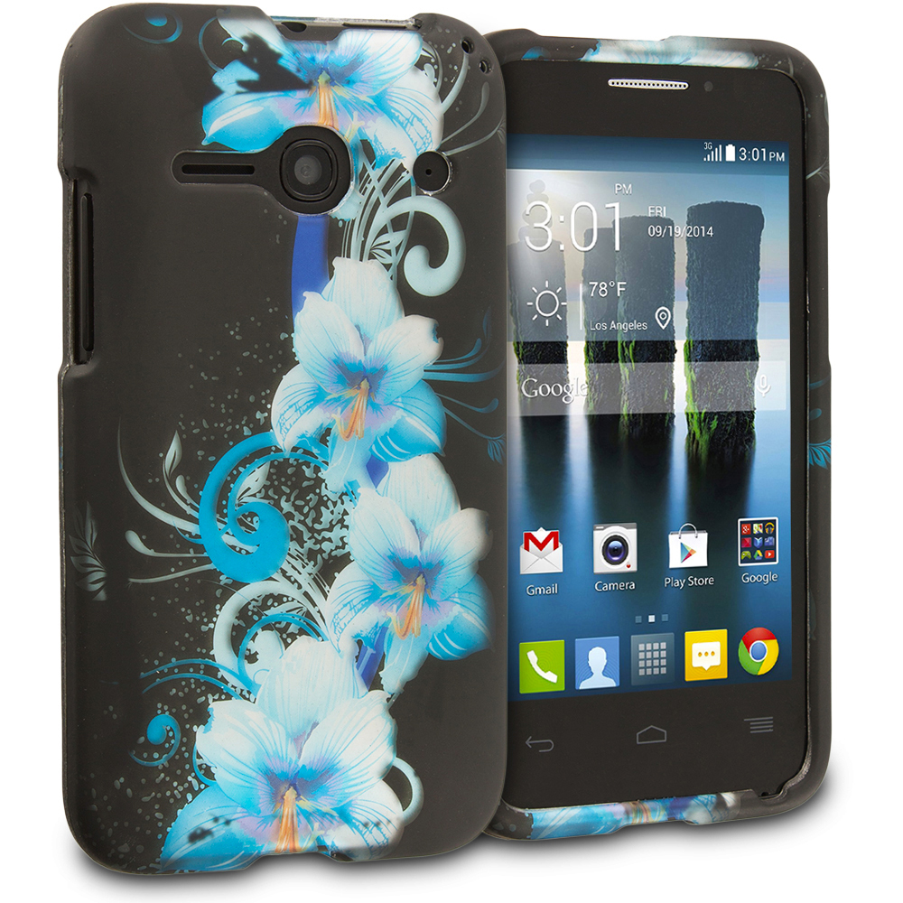 Alcatel One Touch Evolve 2 Blue Flowers 2D Hard Rubberized Design Case Cover