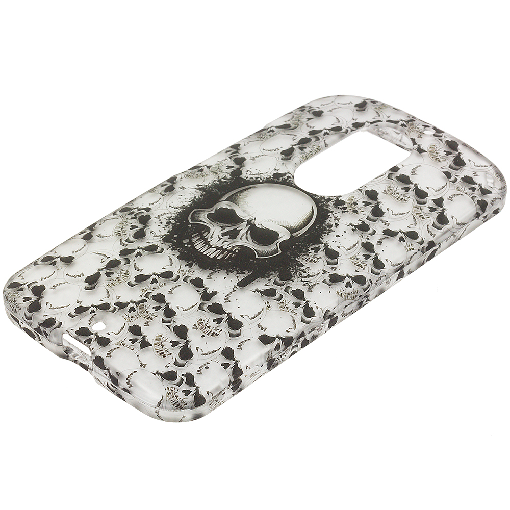 Motorola Moto X 2nd Gen Black White Skulls 2D Hard Rubberized Design Case Cover