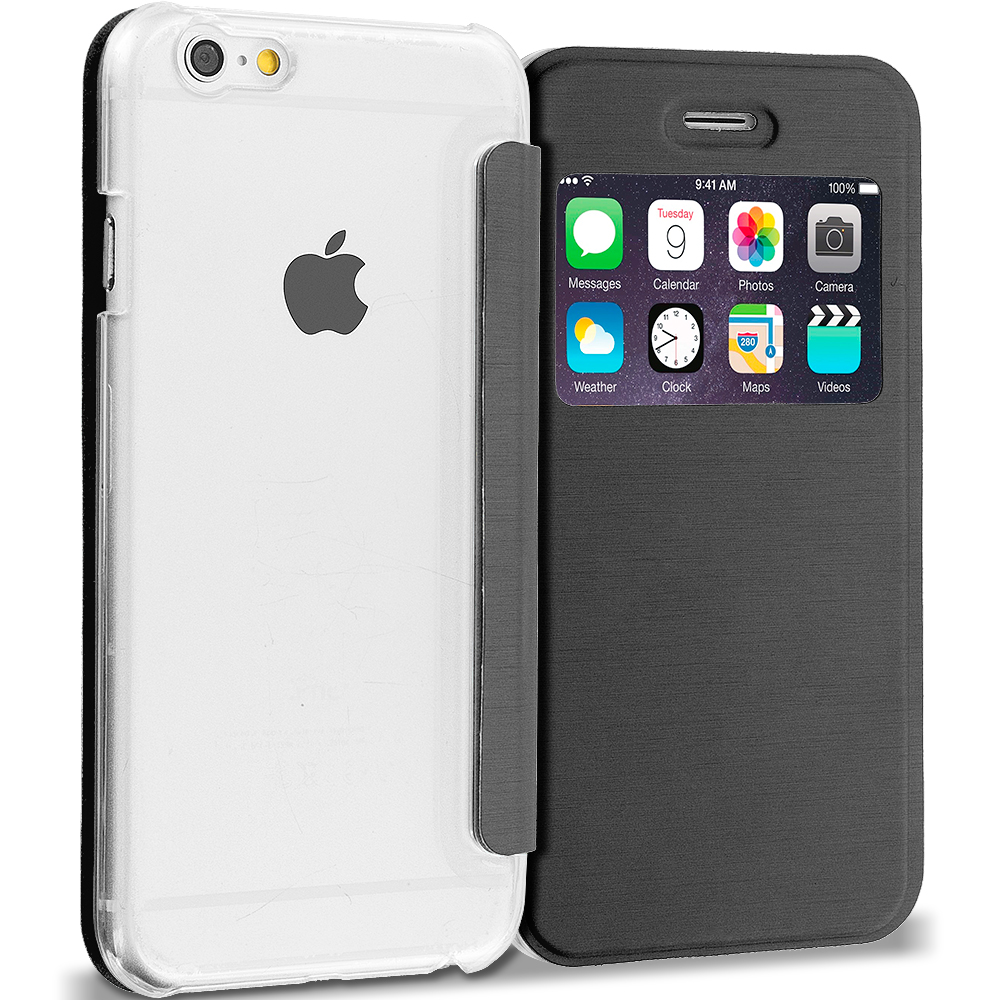 Apple iPhone 6 6S (4.7) 4 in 1 Combo Bundle Pack - Slim Hard Wallet Flip Case Cover Clear Back With Window : Color Black