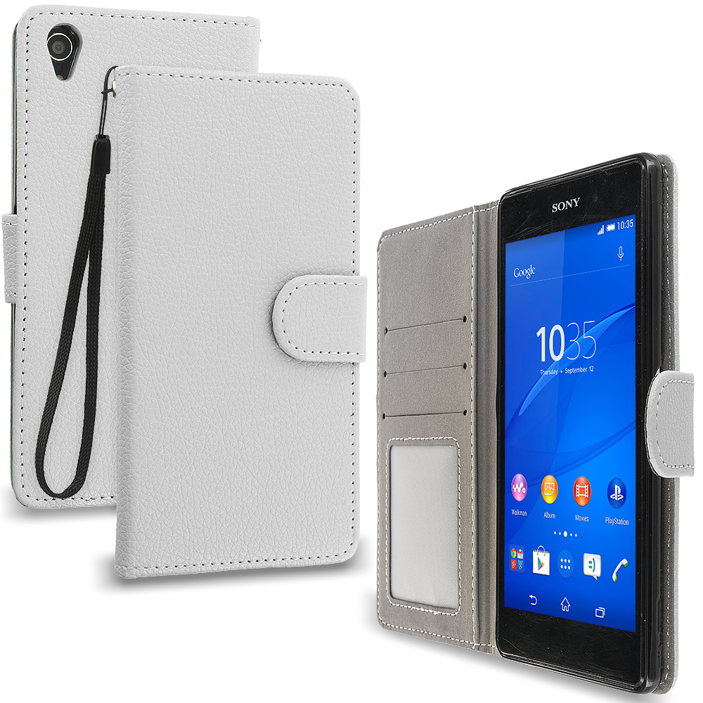Sony Xperia Z3 White Leather Wallet Pouch Case Cover with Slots