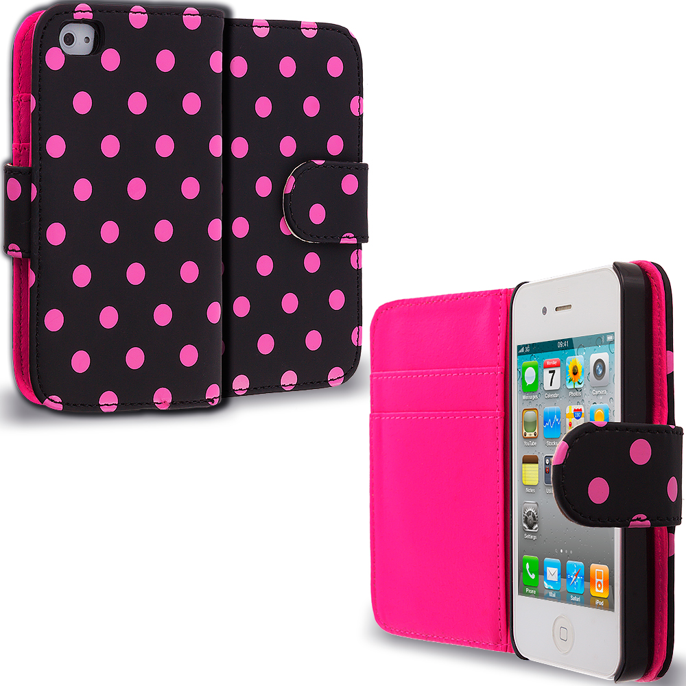 Apple iPhone 4 / 4S Pink Dot Leather Wallet Pouch Case Cover with Slots