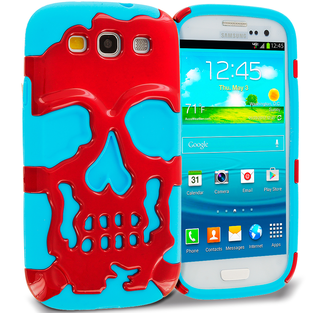 Samsung Galaxy S3 Baby blue / Red Hybrid Skull Hard/Soft Case Cover