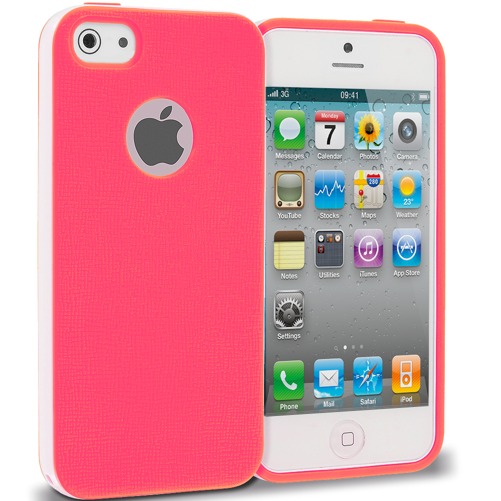 Apple iPhone 4 / 4S Hot Pink Hybrid TPU Bumper Case Cover