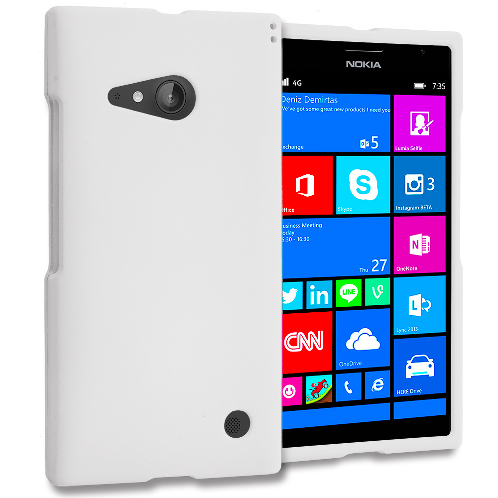 Nokia Lumia 730 735 White Hard Rubberized Case Cover