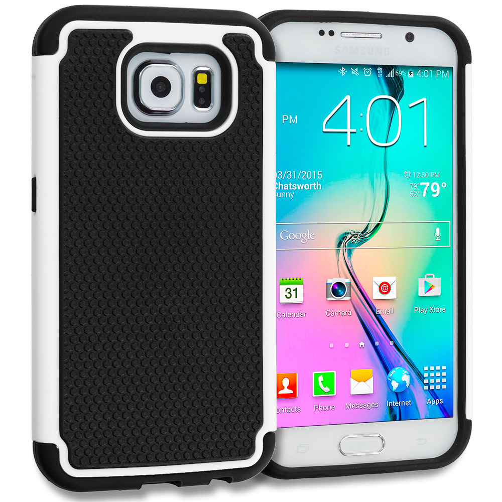 Samsung Galaxy S6 Combo Pack : Black / Black Hybrid Rugged Grip Shockproof Case Cover : Color Black / White