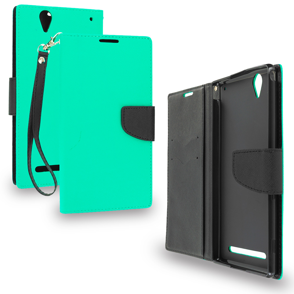 Sony Xperia T2 Ultra D5303 Mint Green / Black Leather Flip Wallet Pouch TPU Case Cover with ID Card Slots