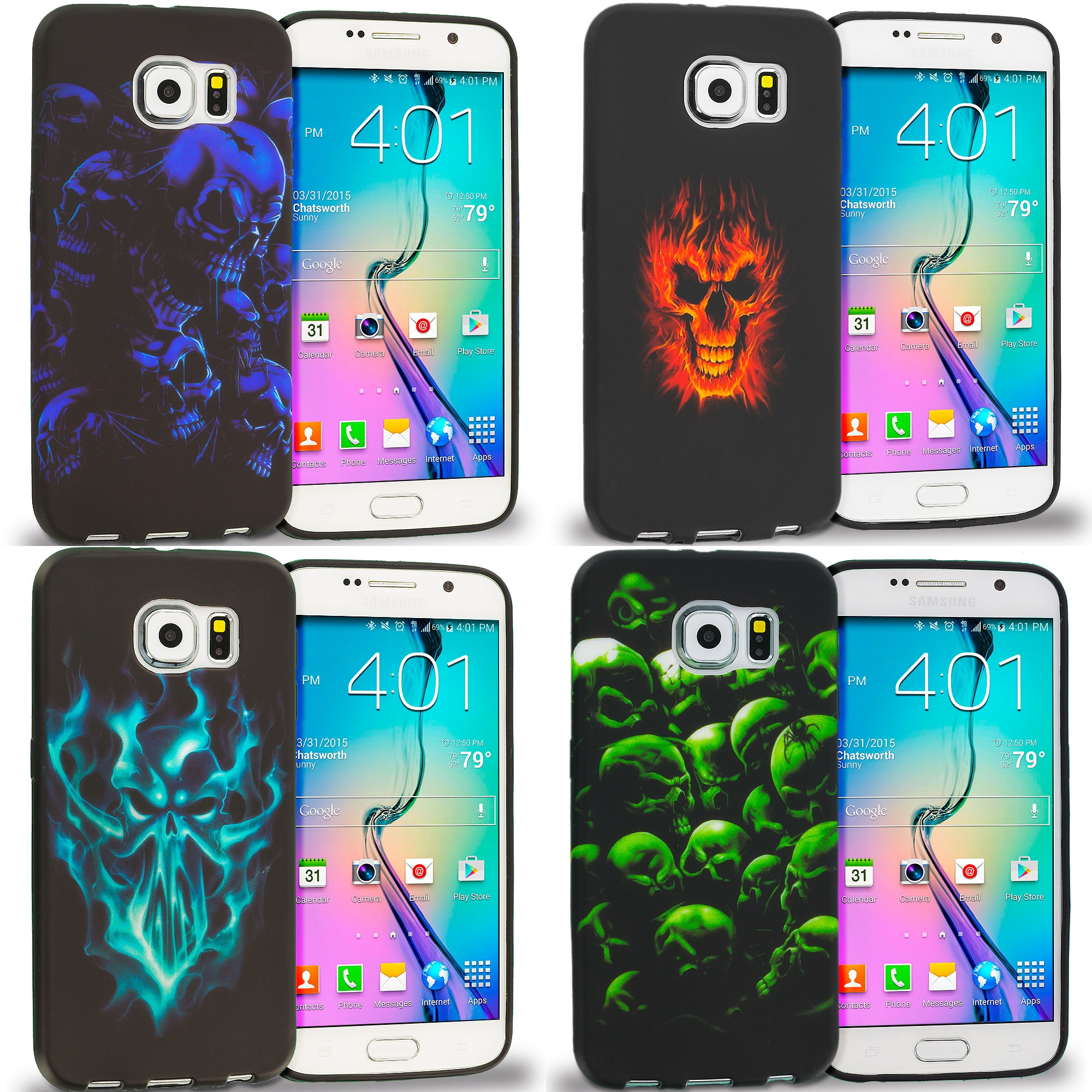 Samsung Galaxy S6 Combo Pack : Black Blue Skull TPU Design Soft Rubber Case Cover