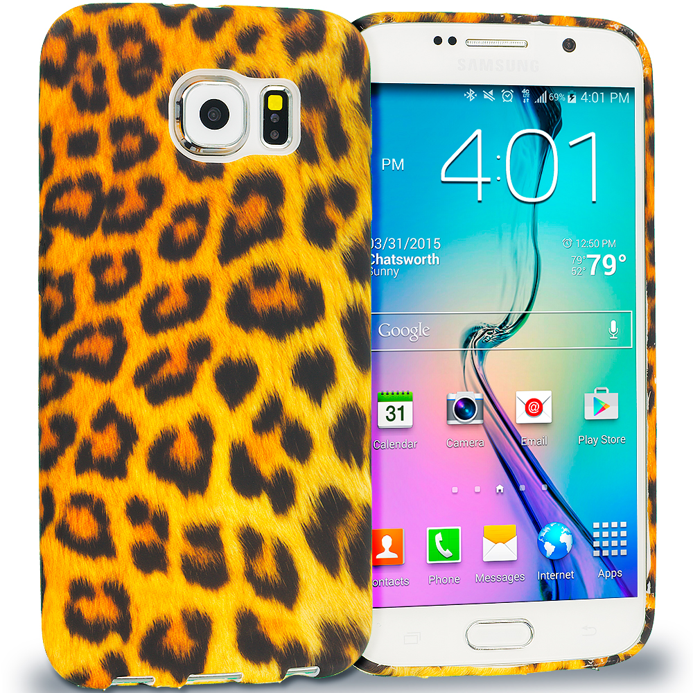 Samsung Galaxy S6 Black Leopard on Golden TPU Design Soft Rubber Case Cover