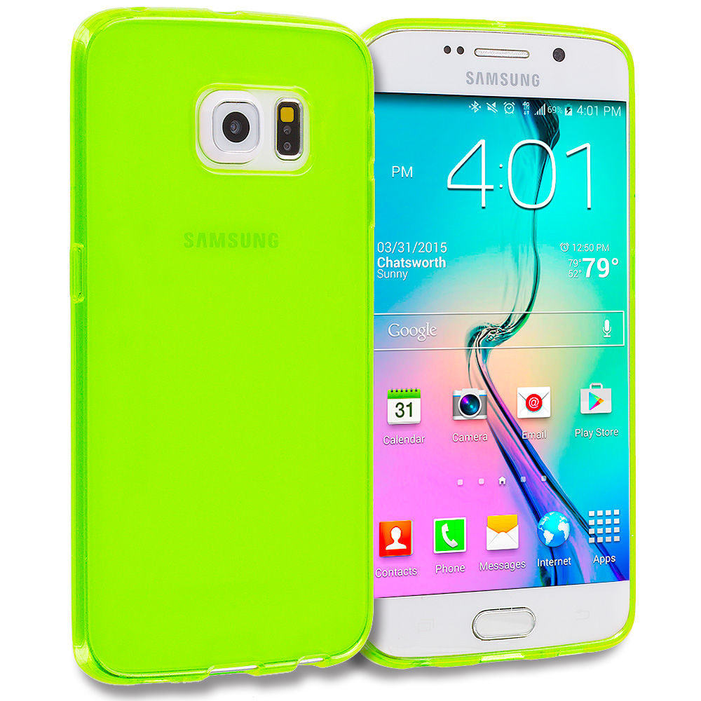 Samsung Galaxy S6 Edge Neon Green Plain TPU Rubber Skin Case Cover