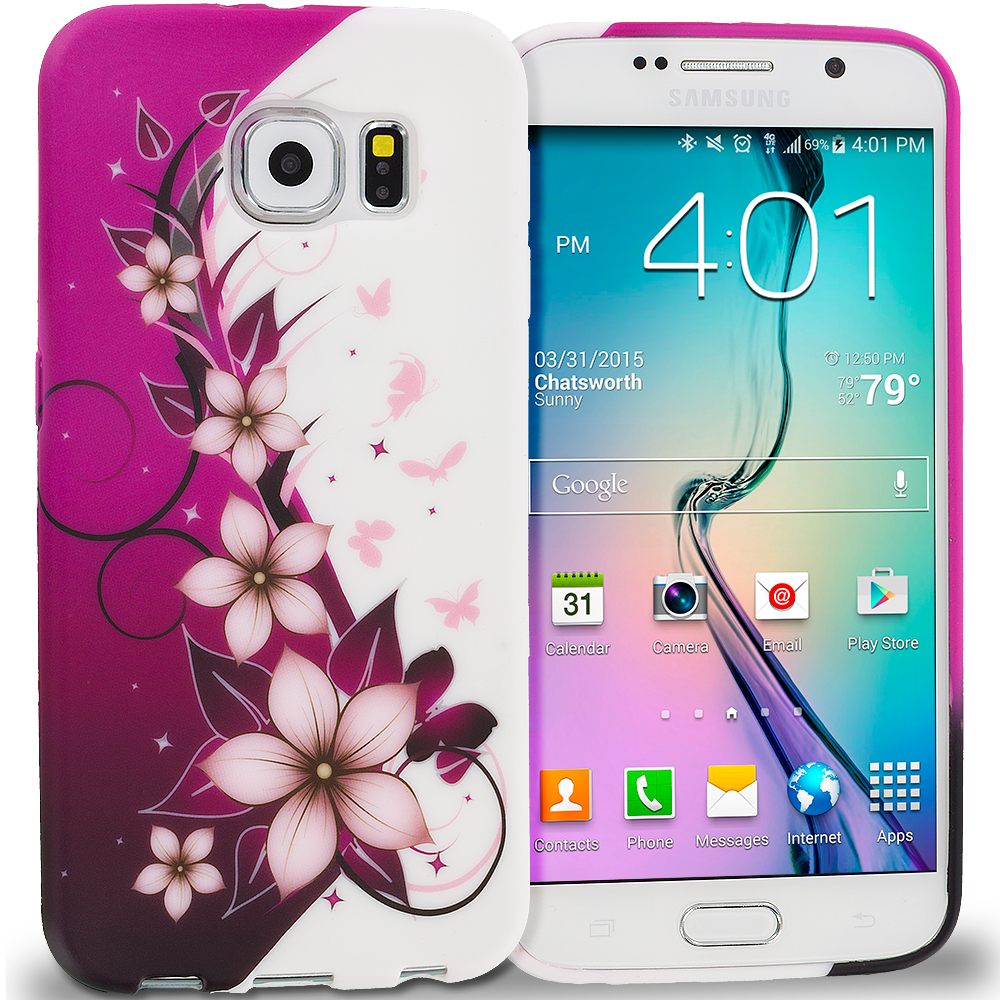 Samsung Galaxy S6 Edge Purple Silver Vine Flower TPU Design Soft Rubber Case Cover