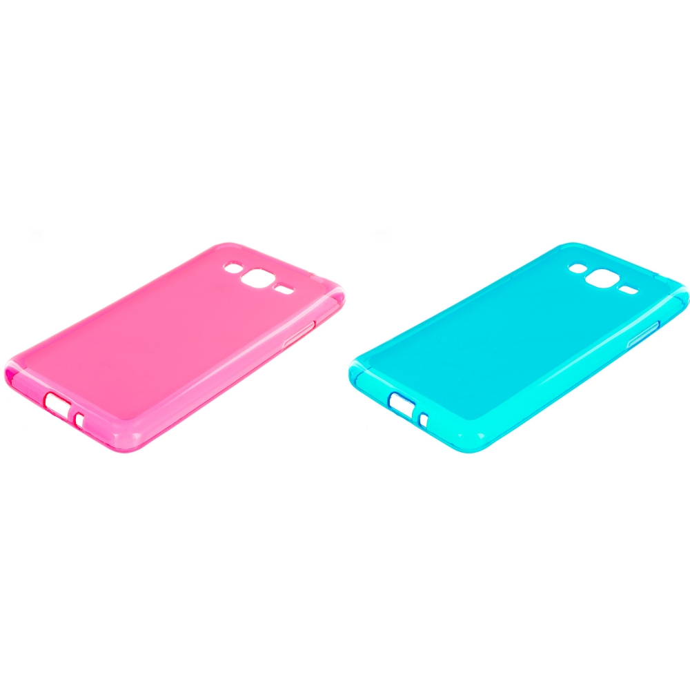 Samsung Galaxy Grand Prime LTE G530 2 in 1 Combo Bundle Pack - Hot Pink Baby Blue TPU Rubber Skin Case Cover
