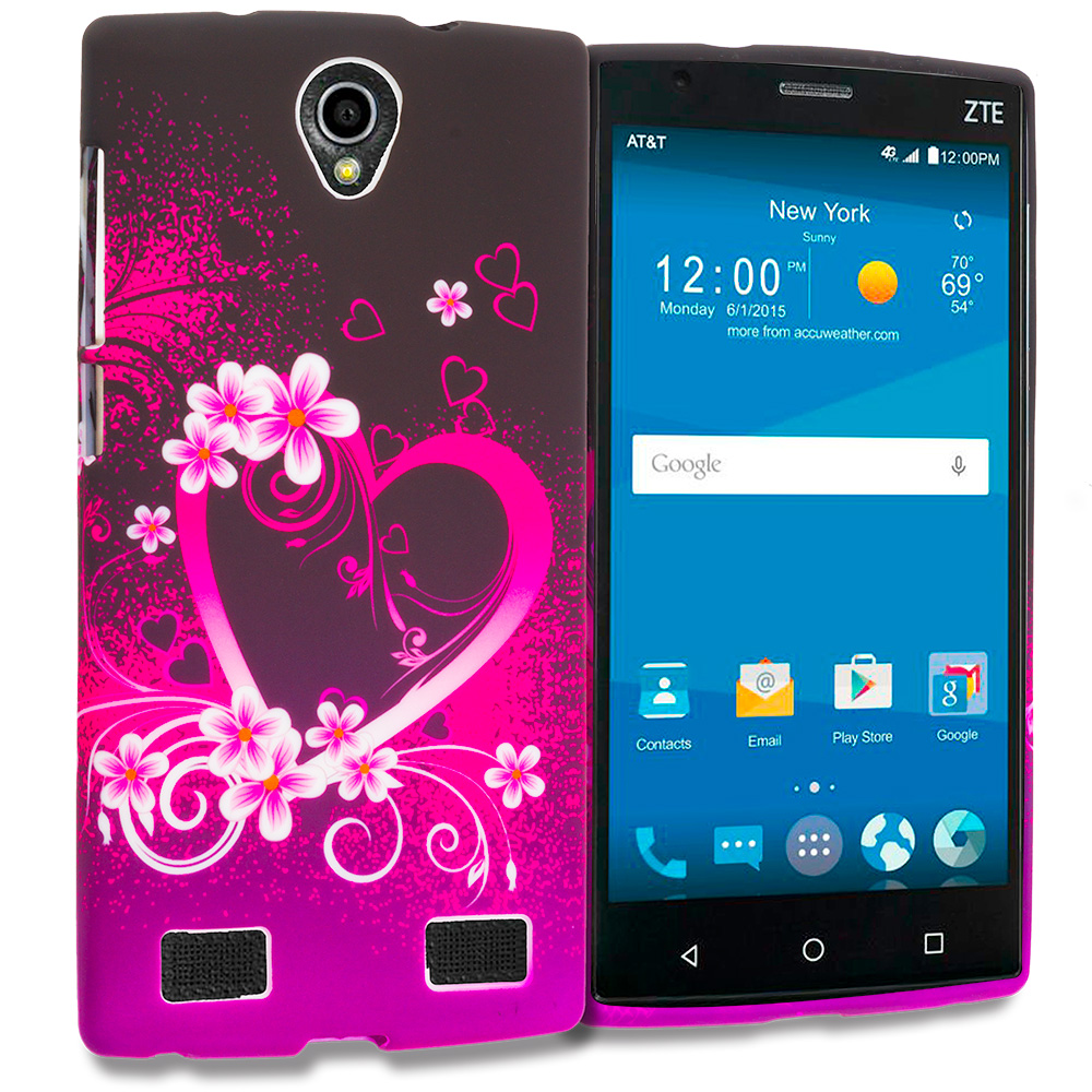 ZTE Zmax 2 Purple Love TPU Design Soft Rubber Case Cover