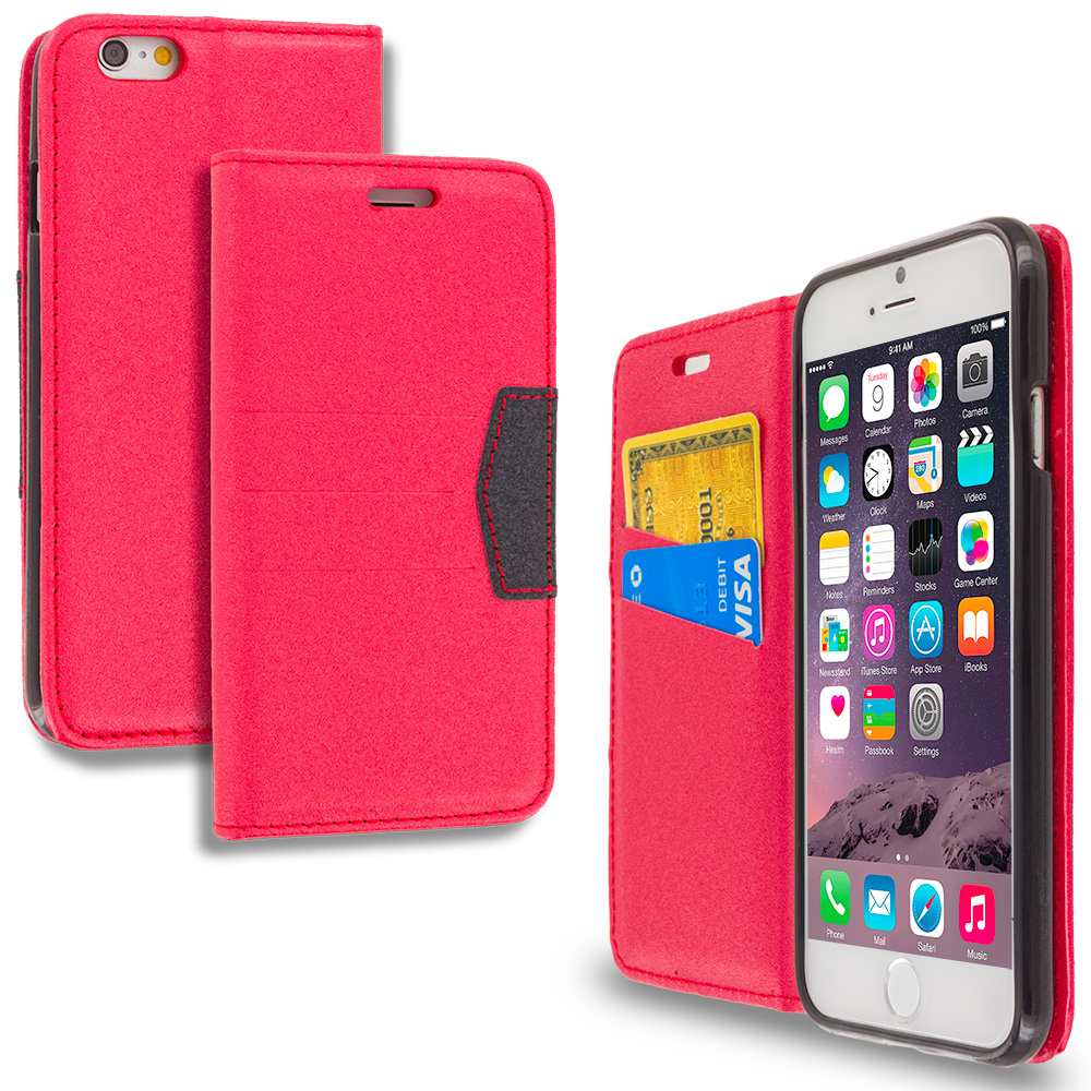 Apple iPhone 6 Plus 6S Plus (5.5) Red Wallet Flip Leather Pouch Case Cover with ID Card Slots