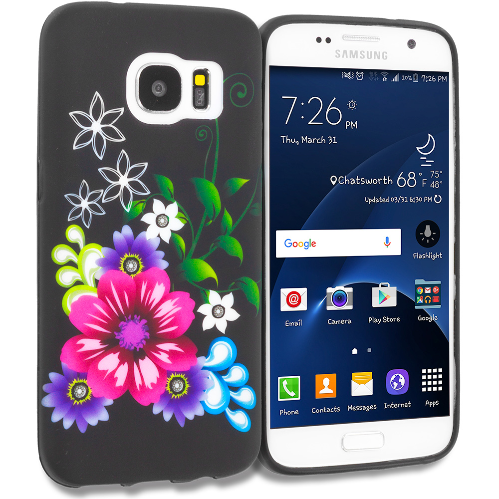 Samsung Galaxy S7 Combo Pack : Butterfly Flower on Blue TPU Design Soft Rubber Case Cover : Color Flowers on Black
