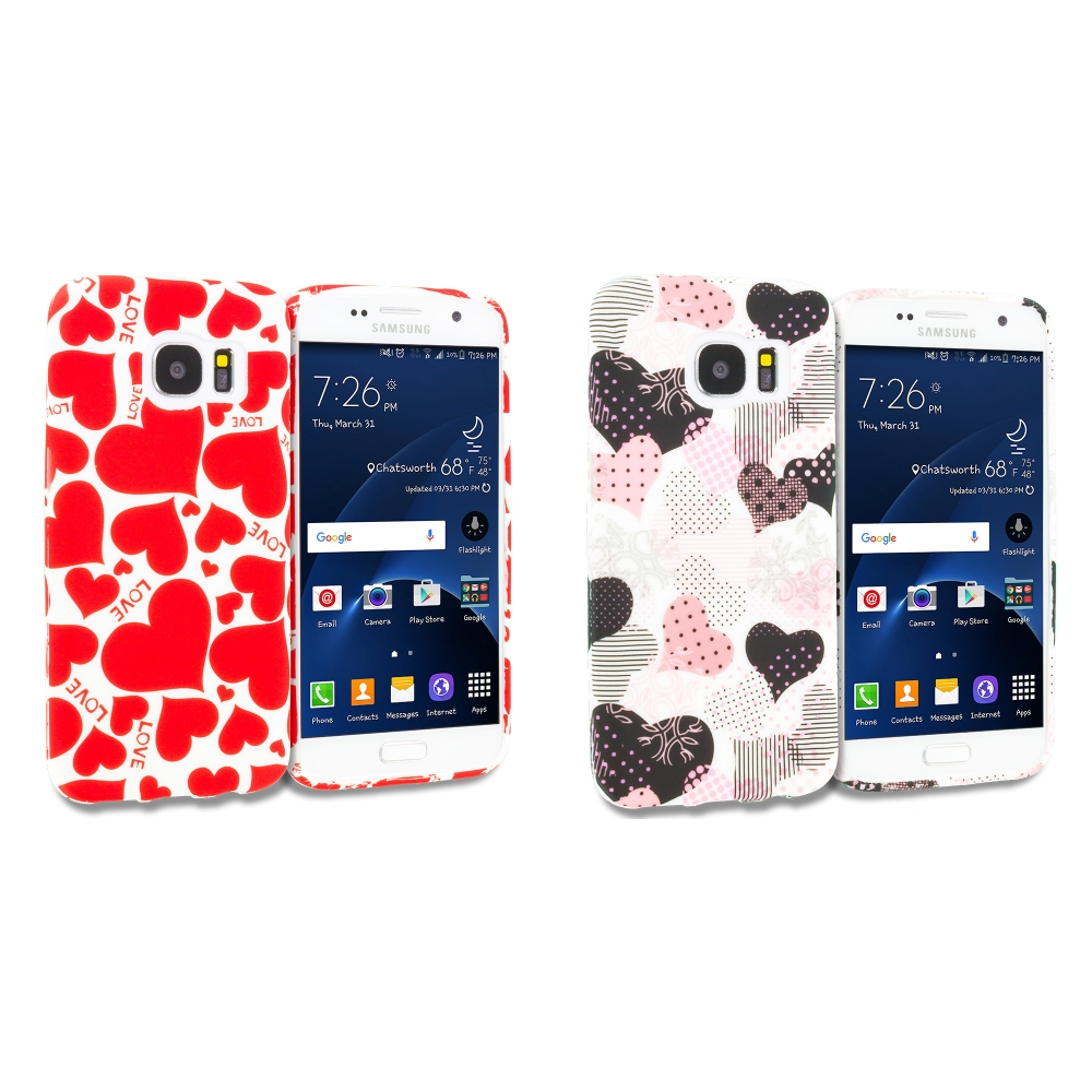Samsung Galaxy S7 Combo Pack : Love desert on Sliver TPU Design Soft Rubber Case Cover