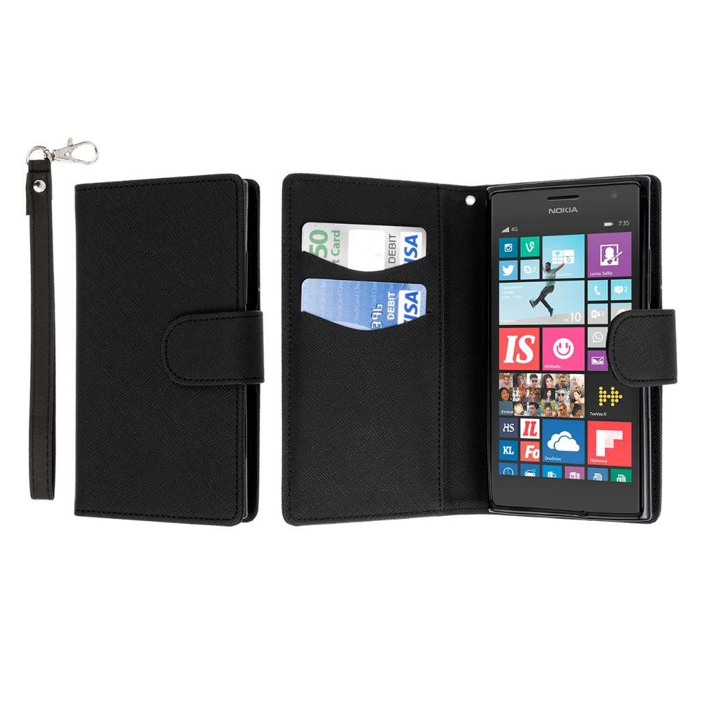 Nokia Lumia 735 - Black MPERO FLEX FLIP Wallet Case Cover