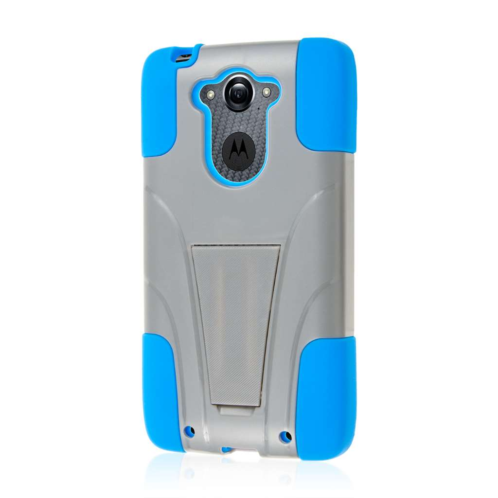 Motorola DROID TURBO - Blue / Gray MPERO IMPACT X - Kickstand Case Cover
