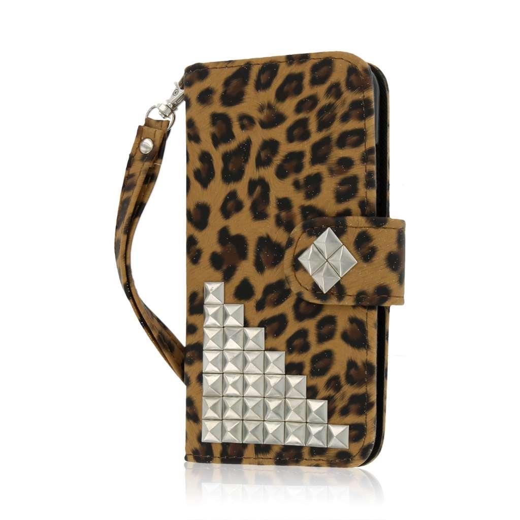 Apple iPhone 6 / 6S - Studded Leopard MPERO FLEX FLIP Wallet Case Cover